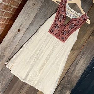 Super cute dress- Cream w aztec design top!